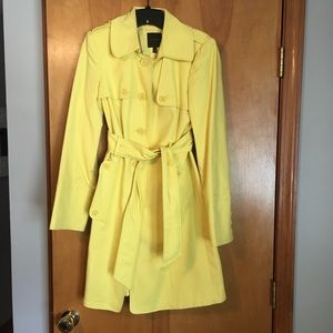 Bright yellow trench coach